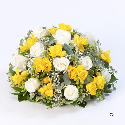 Rose and Freesia Posy   Yellow and White *